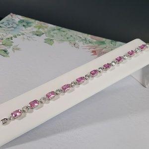 Pink n White Cubic Zirconia Bracelet